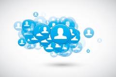 De sociale wolk van de toespraakbel met de vector van gebruikerspictogrammen Stock Foto
