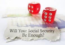 De sociale zekerheid dobbelt stock foto