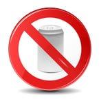 De soda kan geen trashing pictogram Het pictogram van het verbodsteken Stock Foto