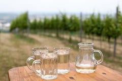 De soda spritzer drinkt verfrissing Drie Glaskop van witte wijn, karaf op houten lijst aangaande achtergronden van Wijngaarden in royalty-vrije stock foto's