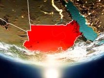 De Soedan met zon op aarde Royalty-vrije Stock Afbeeldingen