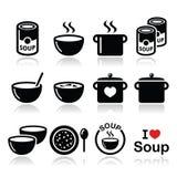 De soep in kom, kan en pot - voedselpictogram plaatsen Royalty-vrije Stock Foto's