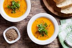 De soep van de Butternutpompoen stock fotografie