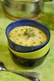 De soep van de aardappel met gerookte kabeljauw Royalty-vrije Stock Afbeeldingen