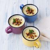 De soep van de aardappelroom met wilde paddestoelen Royalty-vrije Stock Fotografie