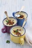 De soep van de aardappelroom met wilde paddestoelen Royalty-vrije Stock Foto's