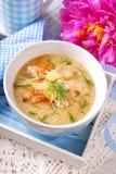 De soep van de bloemkoolroom met kip en parmezaanse kaaskaas Stock Foto