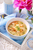 De soep van de bloemkoolroom met kip en parmezaanse kaaskaas Royalty-vrije Stock Foto's
