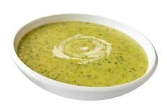 De Soep van de courgette of van de Courgette op Wit Royalty-vrije Stock Afbeelding