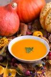 De soep van de de herfstpompoen met kleurrijke achtergrond royalty-vrije stock foto