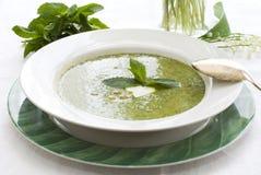 De soep van de erwt met munt Stock Foto's