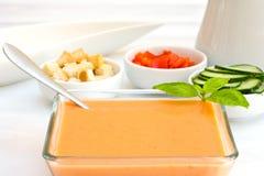De soep van de Gazpachotomaat stock foto