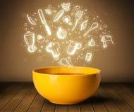De soep van de huiskok met hand getrokken witte pictogrammen Royalty-vrije Stock Foto