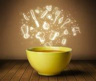 De soep van de huiskok met hand getrokken witte pictogrammen Royalty-vrije Stock Afbeelding