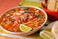 De soep van de kip en van de tortilla stock afbeeldingen