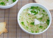 De soep van de kip met noedels Stock Afbeelding