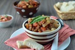 De soep van de linze met groenten stock foto's
