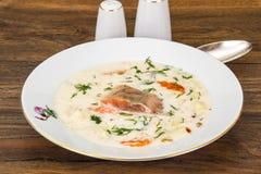 De soep van de melkroom met groenten en forel royalty-vrije stock afbeelding