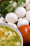 De soep van de Noedel van de kip Stock Afbeeldingen