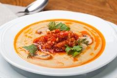 De soep van de pompoen stock foto's