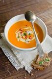 De soep van de pompoen stock fotografie