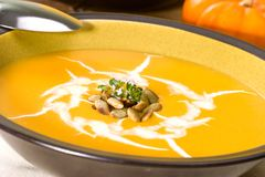De soep van de pompoen Royalty-vrije Stock Foto's