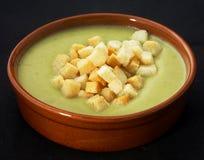 De soep van de puree met croutons Stock Fotografie