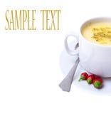 De soep van de puree met groenten op witte achtergrond Royalty-vrije Stock Afbeeldingen