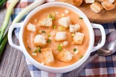 De soep van de room met croutons Stock Foto