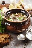 De soep van de room met paddestoelen Stock Foto's