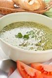 De Soep van de spinazieroom Stock Foto's