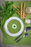 De Soep van de spinazieroom Stock Foto
