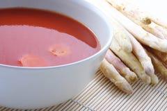 De soep van de tomaat Stock Foto's