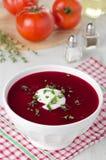 De soep van de tomaat met bieten Stock Foto