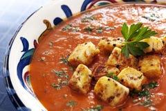 De Soep van de tomaat met Croutons Stock Foto's