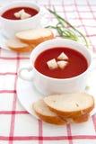 De soep van de tomaat met croutons Stock Afbeelding