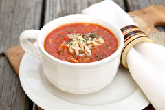 De Soep van de tomaat met Orzo Royalty-vrije Stock Afbeeldingen