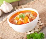 De soep van de tomaat met pompoen Stock Foto