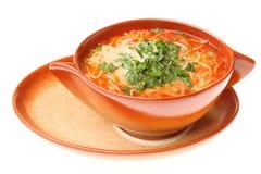 De soep van de tomaat, peterselie geïsoleerder witte achtergrond Stock Afbeeldingen