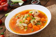 De soep van de tomatenkip met pompoen Royalty-vrije Stock Foto