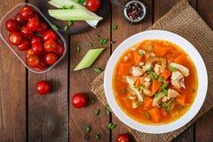 De soep van de tomatenkip met pompoen Royalty-vrije Stock Foto's