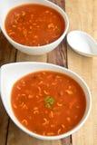 De Soep van de tomatennoedel Royalty-vrije Stock Afbeeldingen