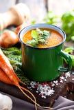 De soep van de wortelroom Stock Afbeeldingen