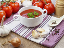 De soep van de zomergazpacho met groenten Royalty-vrije Stock Foto