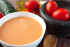 De soep van Gazpacho stock foto