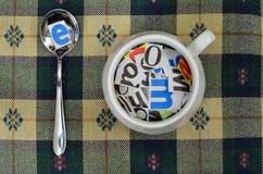 De Soep van het alfabet stock foto