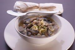 De soep van het rundvlees met en eigengemaakte noedel Stock Foto's