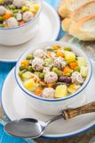 De soep van het vleesballetje met groenten Stock Foto's