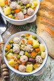 De soep van het vleesballetje met groenten Royalty-vrije Stock Fotografie