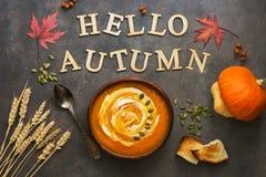 De soep van de pompoenroom op een de herfstachtergrond, bladeren van esdoorn, tarweoren, zaden, roostert het concept de vakantie  stock foto's